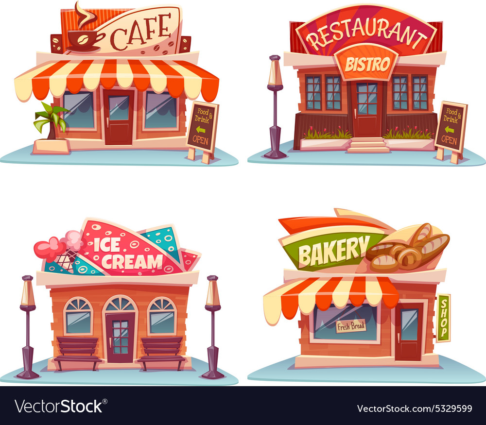 Cafe restaurant ice cream shop and bakery vector image
