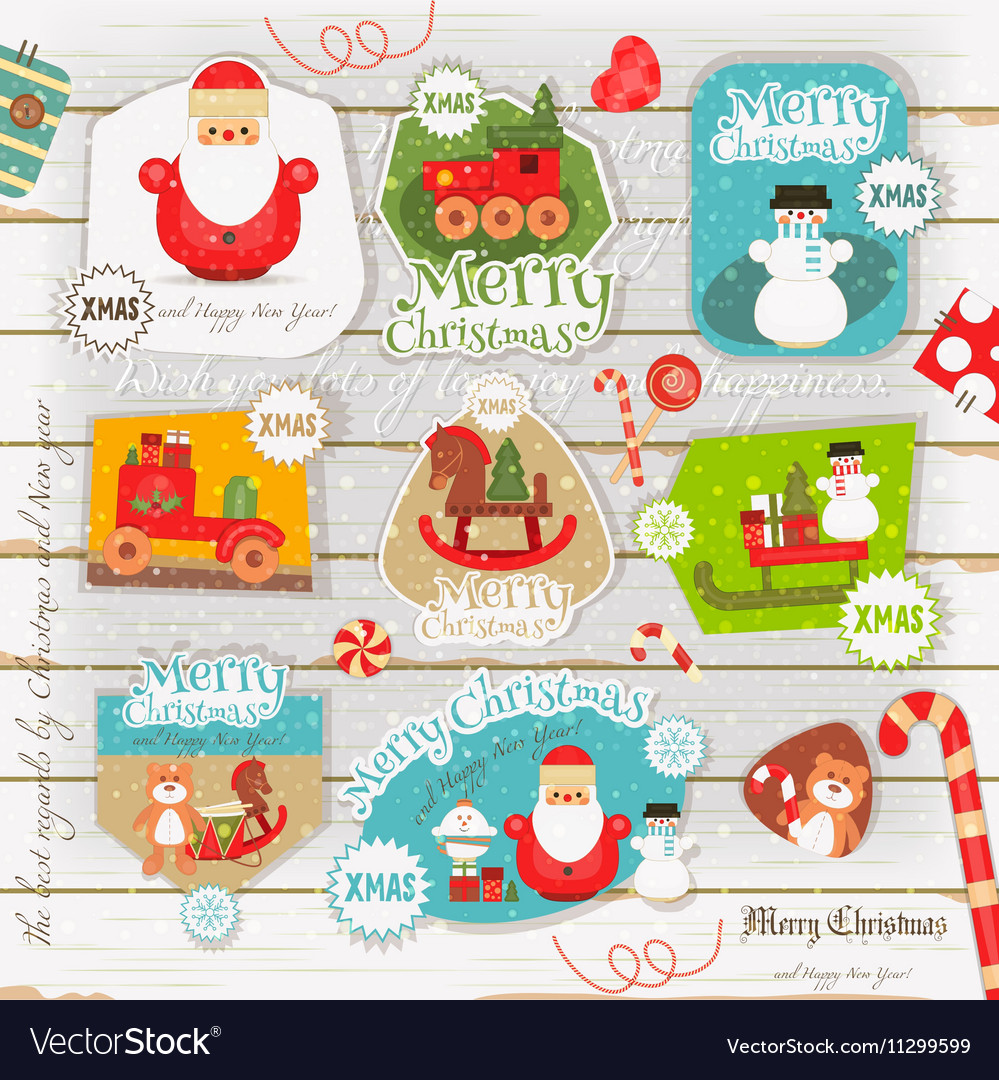Christmas Poster on White Wooden Background vector image
