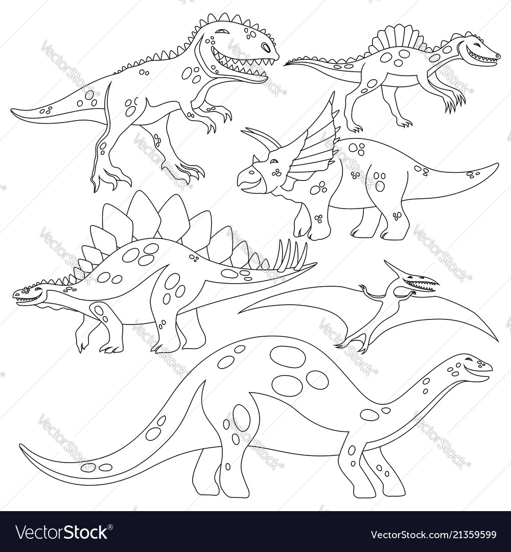 Coloring book with a set of dinosaurs
