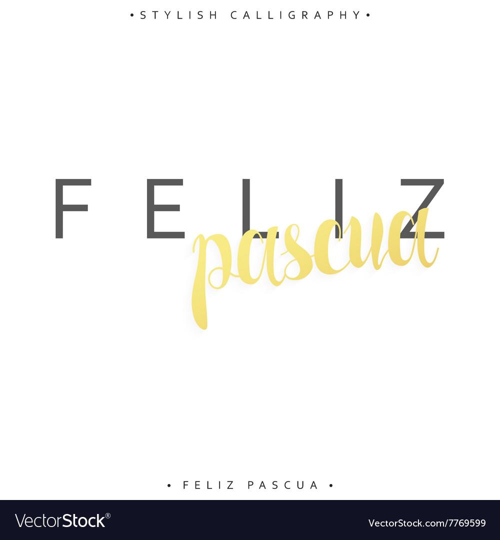 Feliz pascua Greeting inscription Happy Easter in vector image