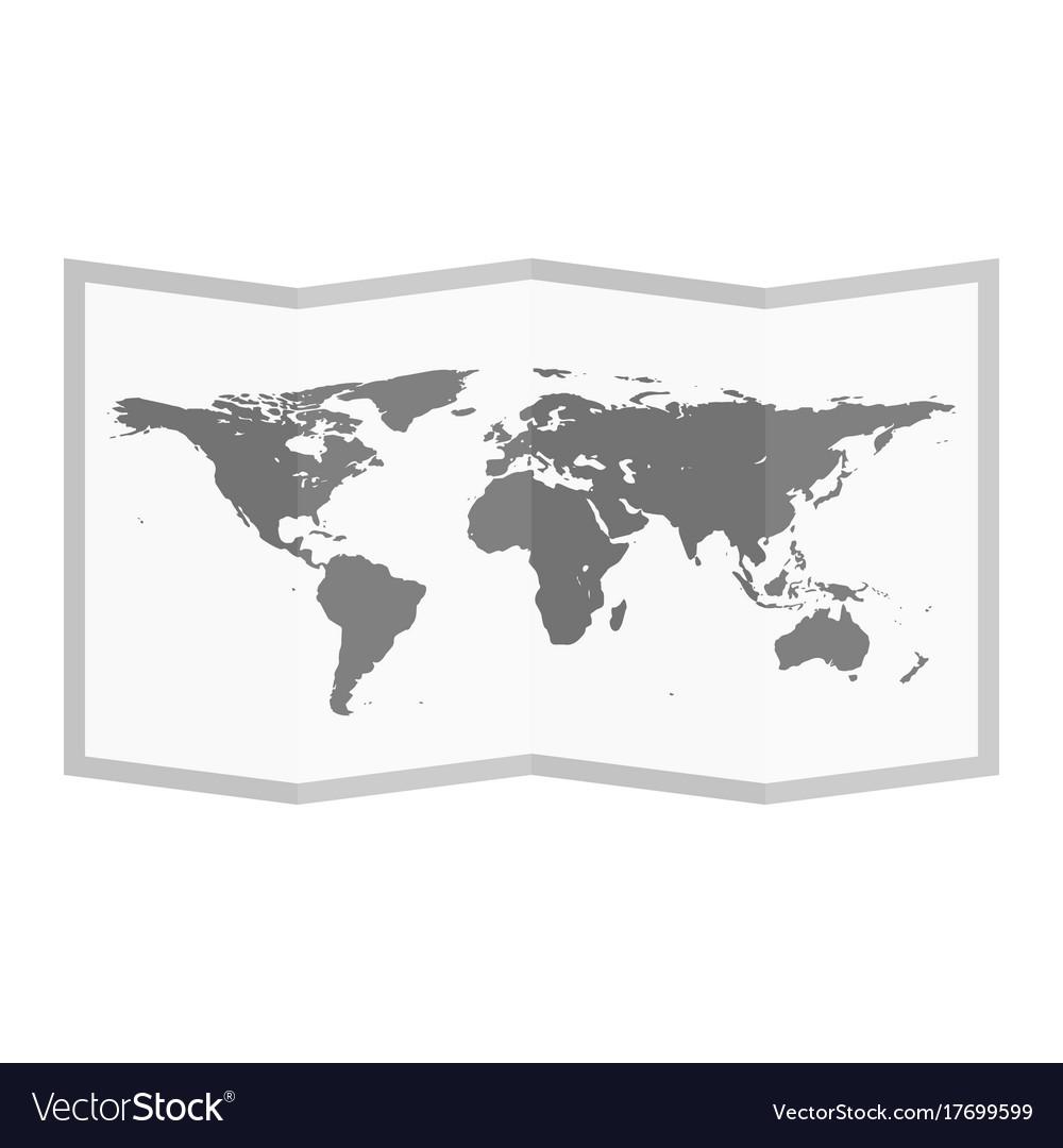 Folded world map flat style Royalty Free Vector Image