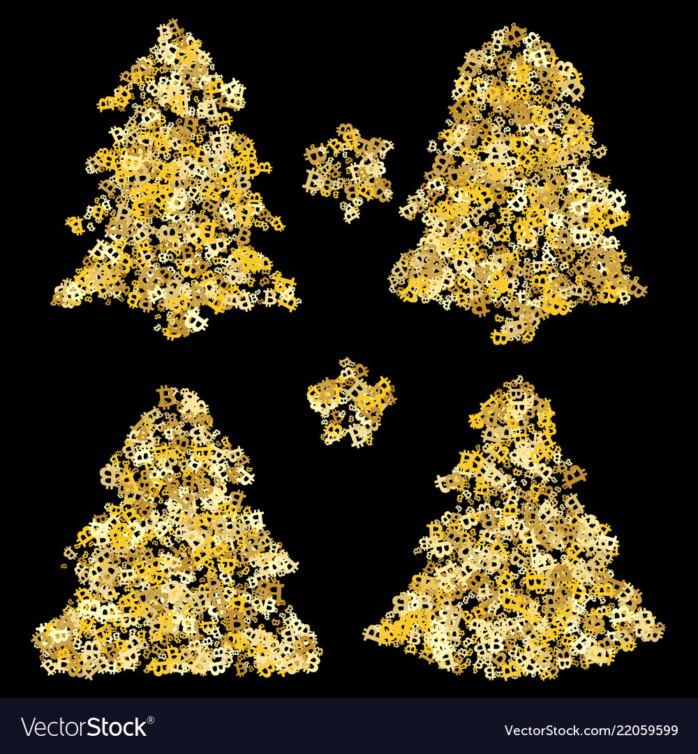 Gold Christmas Tree Holiday Background Bitcoin