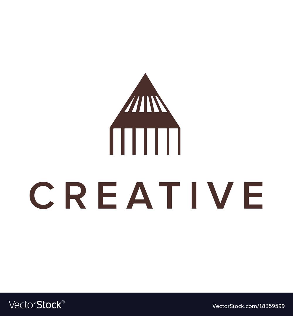 Logo design letter a pencil triangle logo