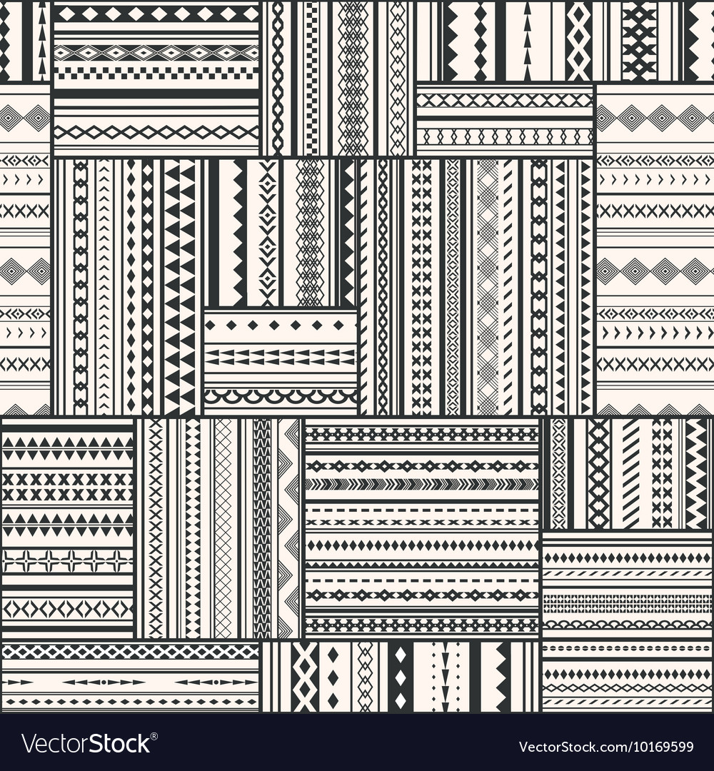 Seamless patchwork pattern Vintage ethnic tribal vector image