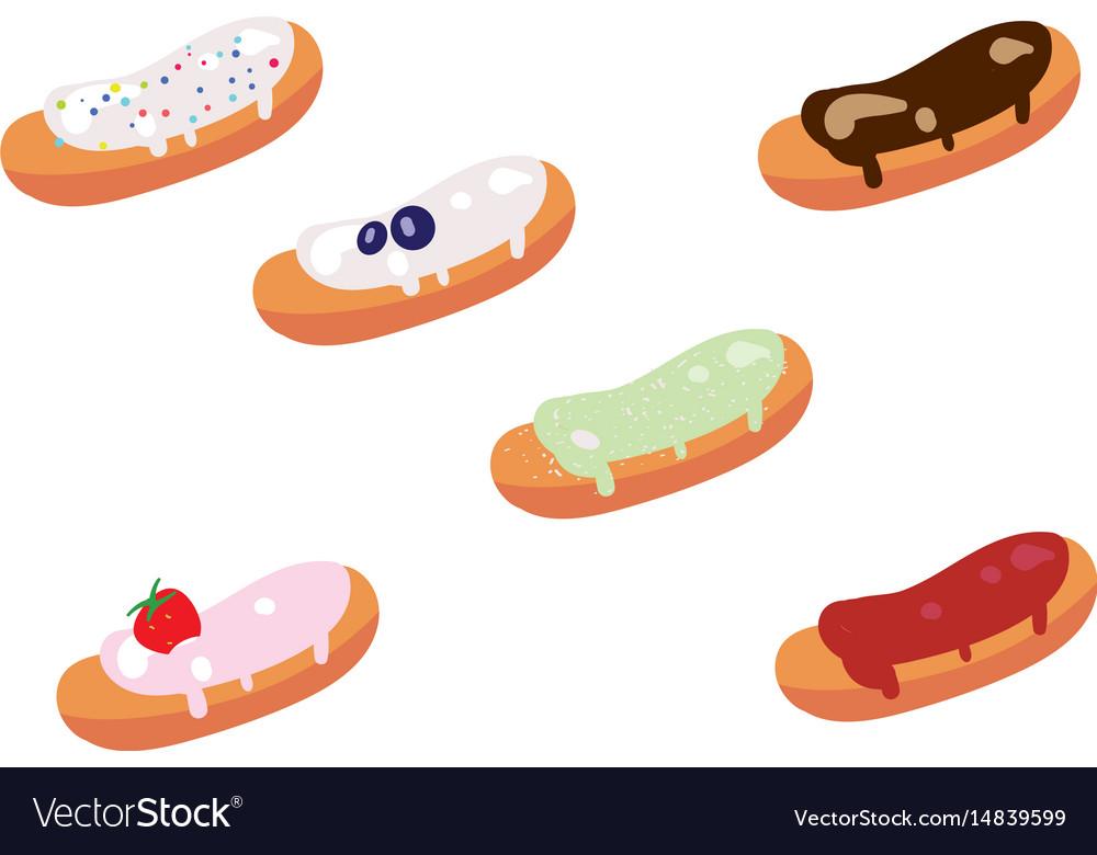 Set of appetizing glazed eclairs