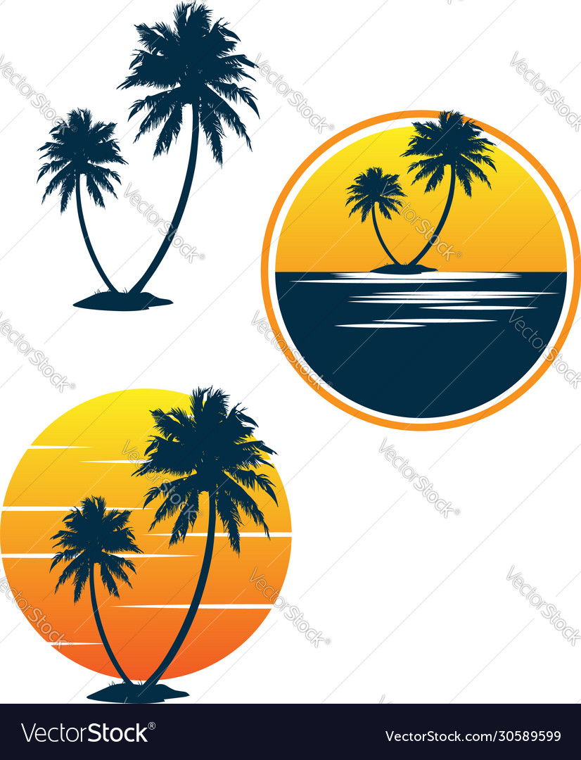 Set sunset palm coconut tree beach logo