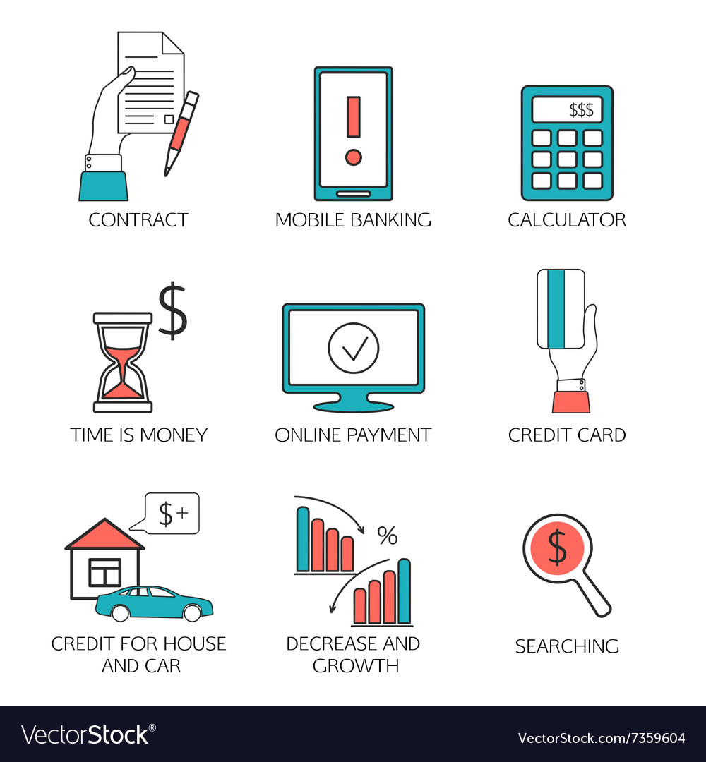 Banking service outline icons set deposit