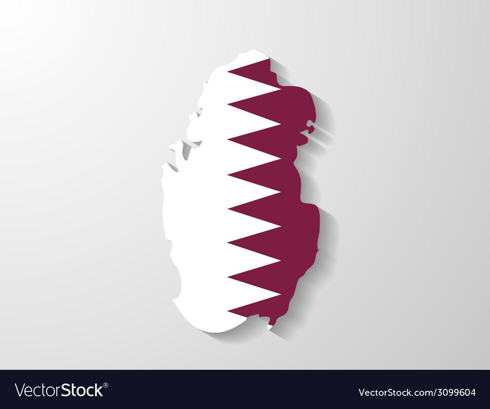 Qatar flag map with shadow effect