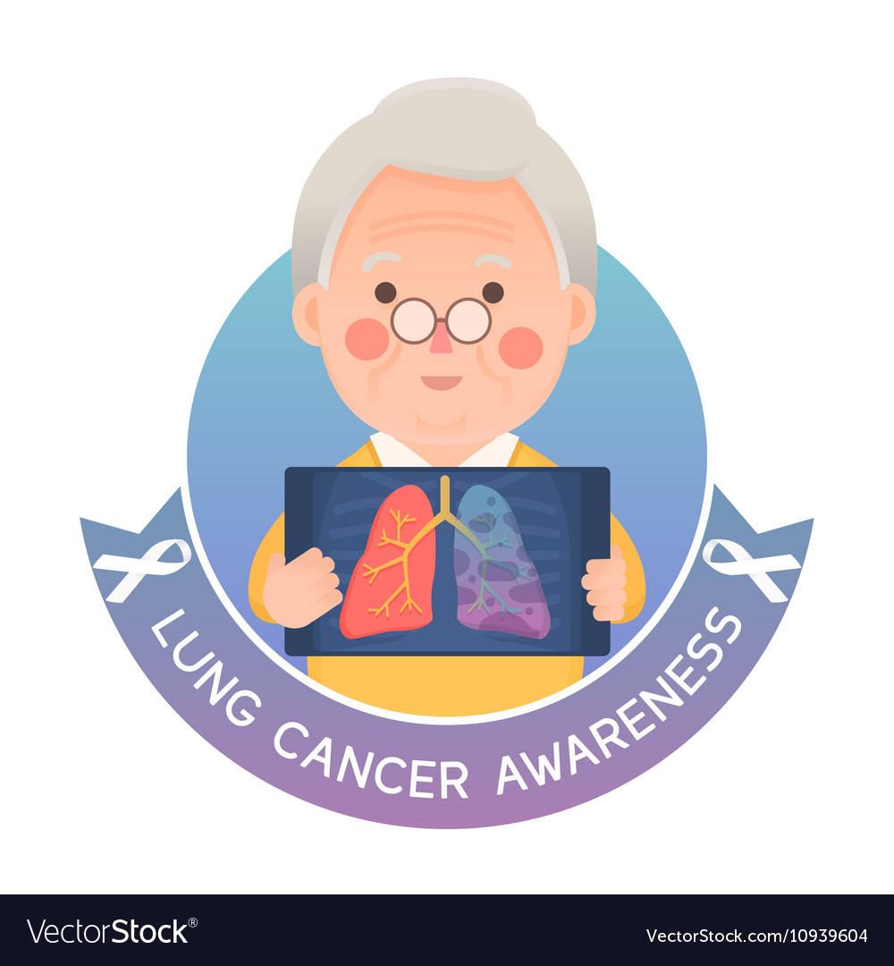 Senior man with Lung Cancer Ribbon Awareness