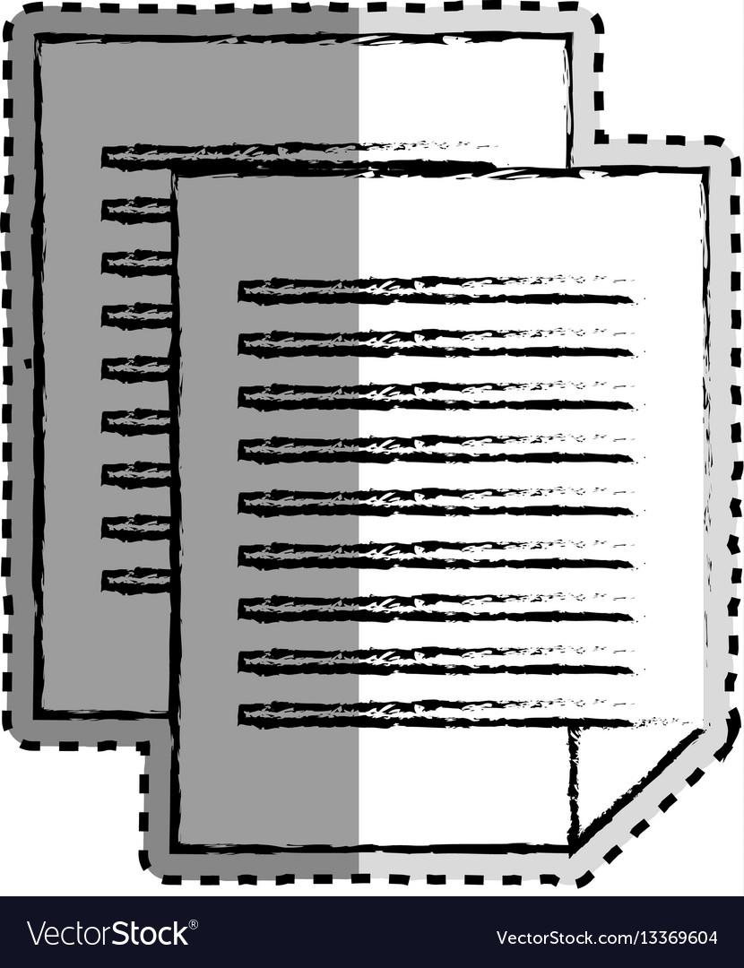 Sticker monochrome blurred of document file vector image