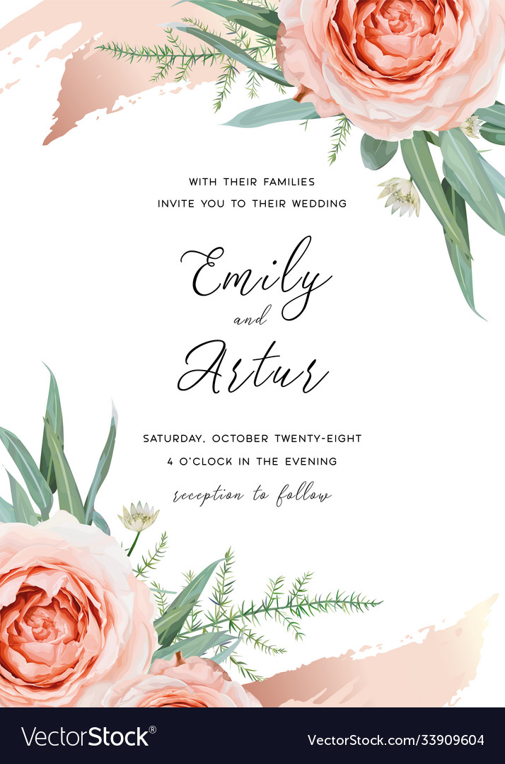 Wedding cute invite card floral design blush peach vector