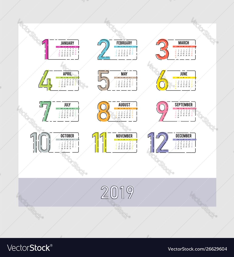 Year 2019 plain contemporary monthly calendar