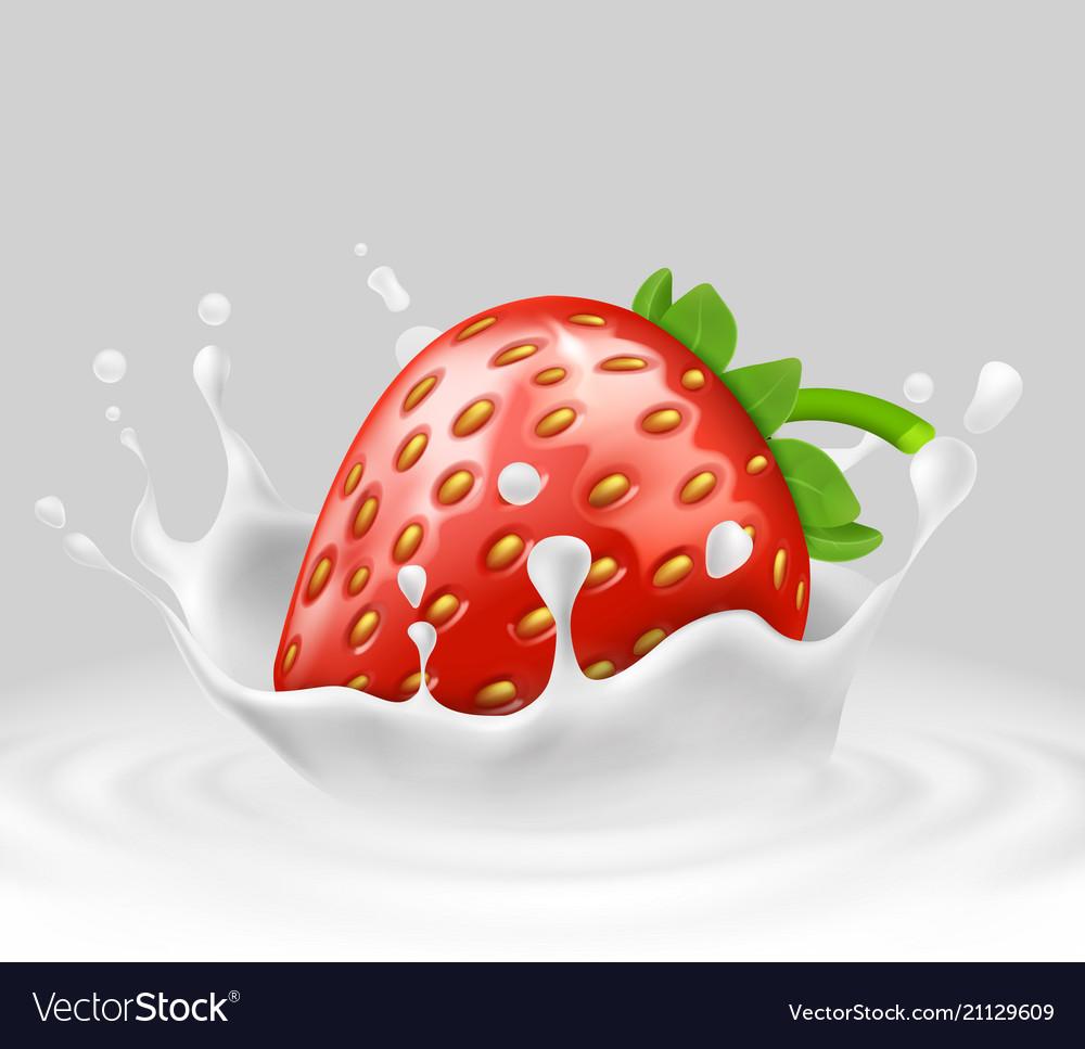 3d realistic strawberry in splashing milk