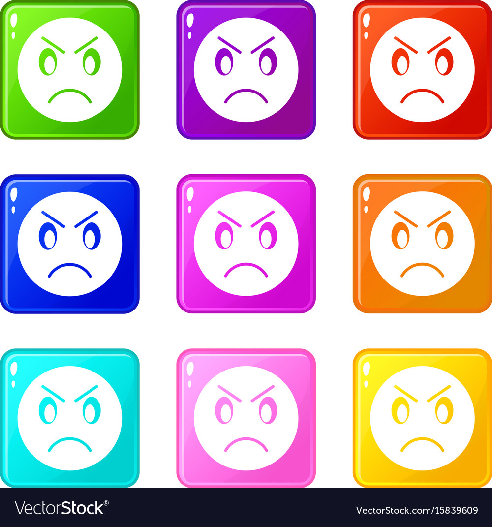 Annoyed emoticons 9 set vector image