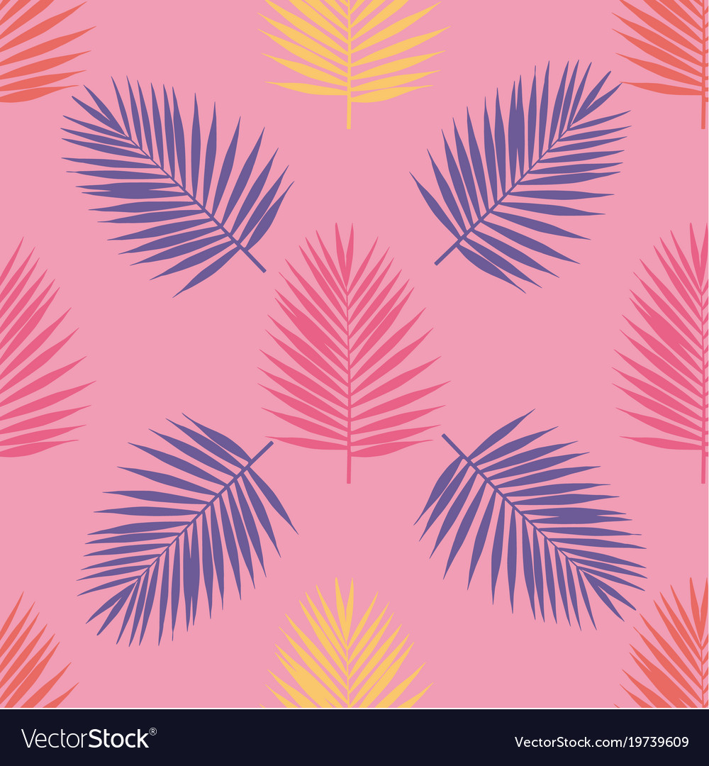 Bright tropical palm leaves seamless pattern