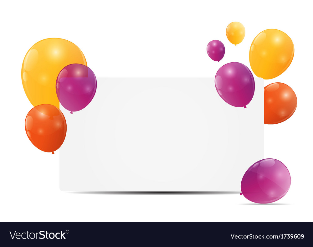 Color Glossy Balloons Birthday Card Background Vector Image