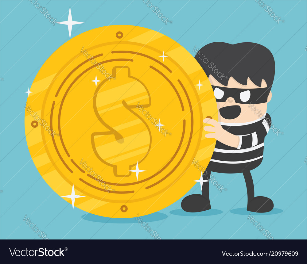 Concept a thief with big coin stack design