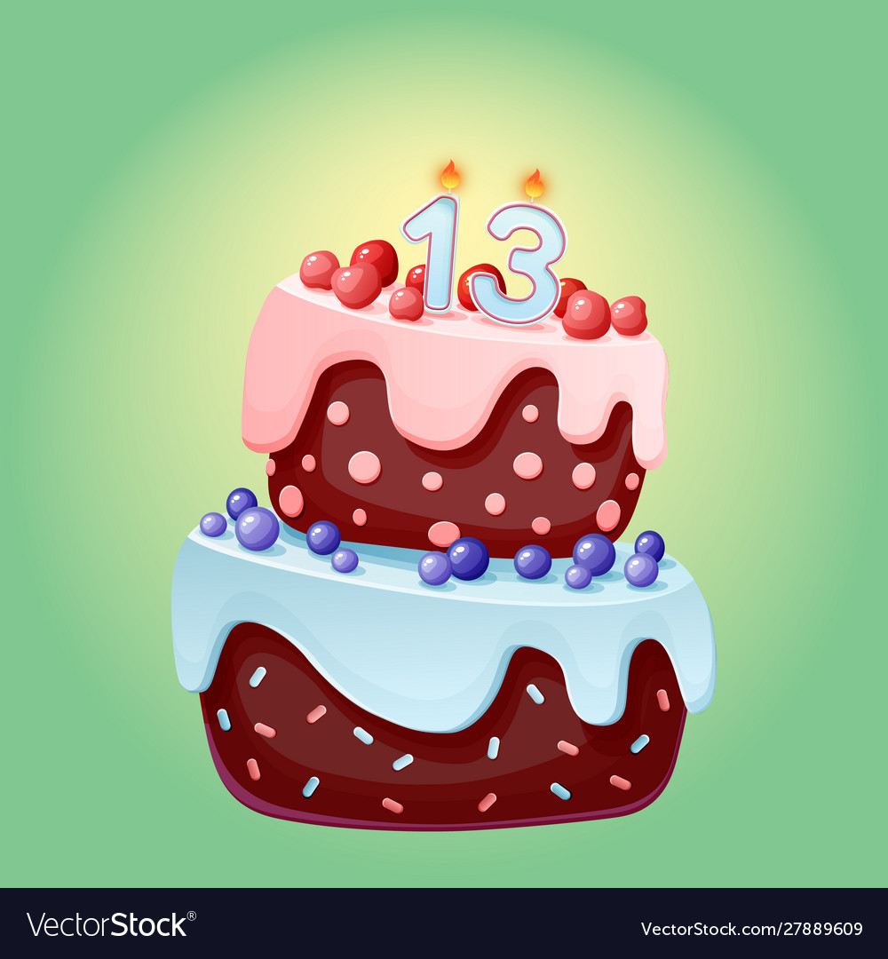 Fine Cute Cartoon 13 Year Birthday Festive Cake With Vector Image Funny Birthday Cards Online Inifodamsfinfo