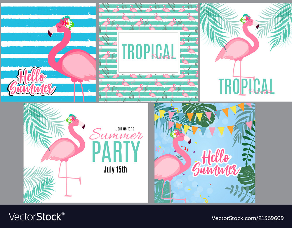Cute pink flamingo summer collection set