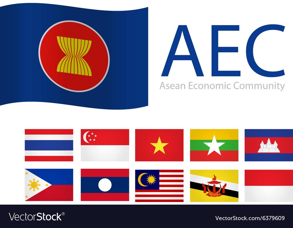 Flag aec asean vector image