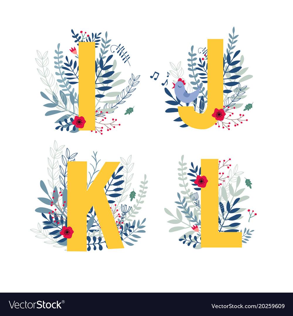 Floral alphabet letter i j k l set