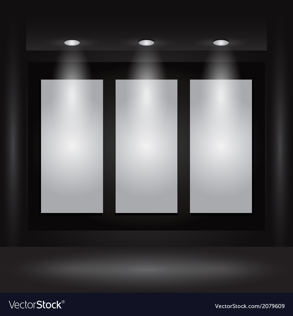 Gallery Interior with empty frames on wall Vector Image