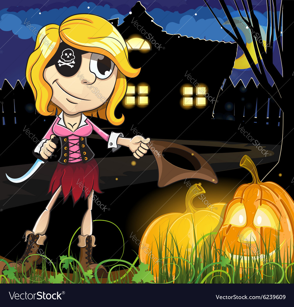 Halloween Pirate girl near the haunted house vector image