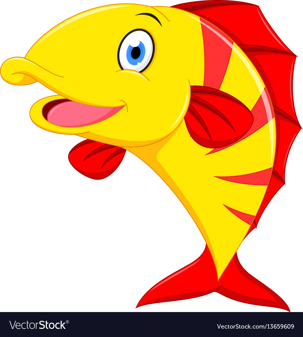 Happy fish cartoon