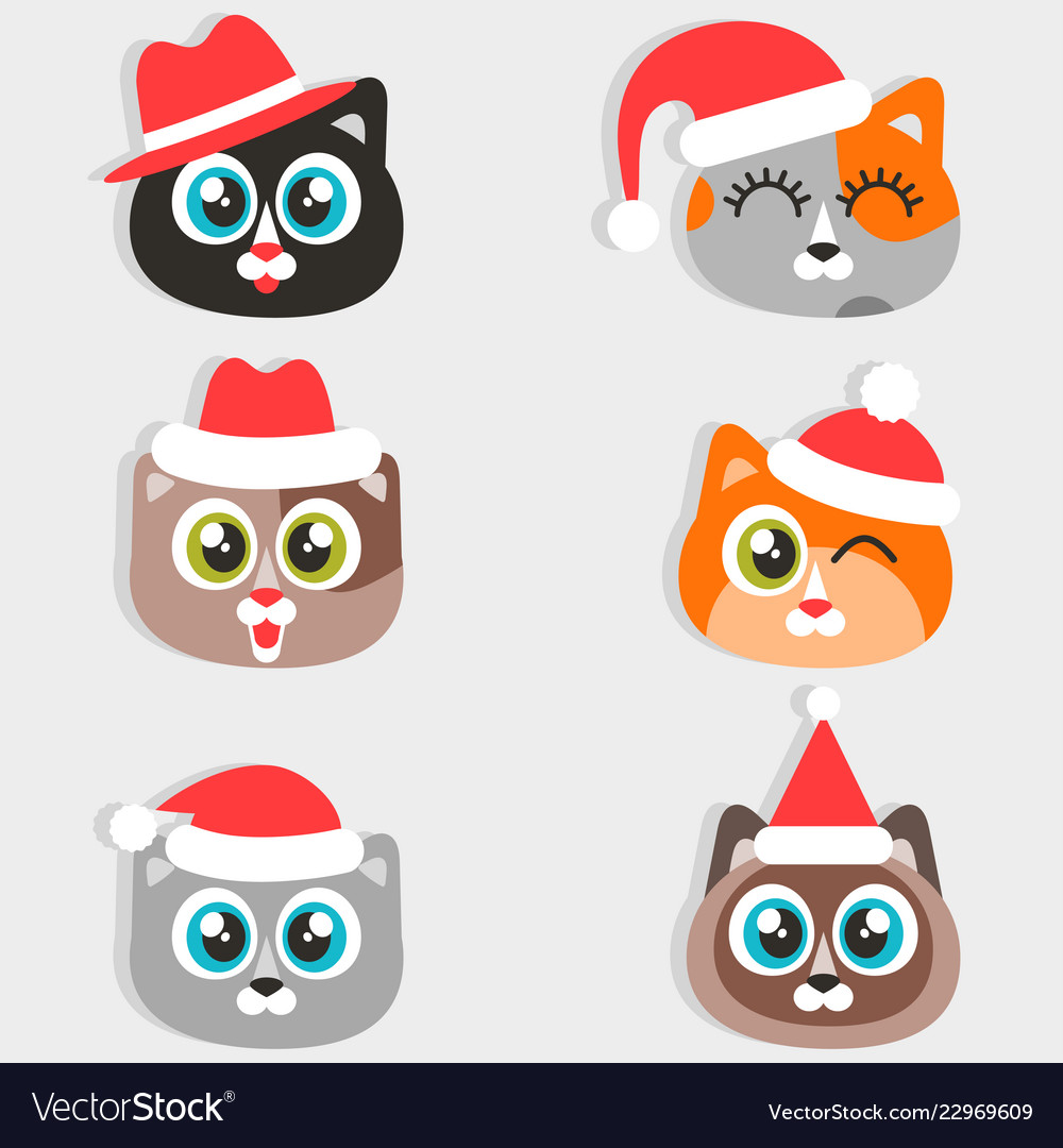 Icons of funny cartoon cats with christmas hats