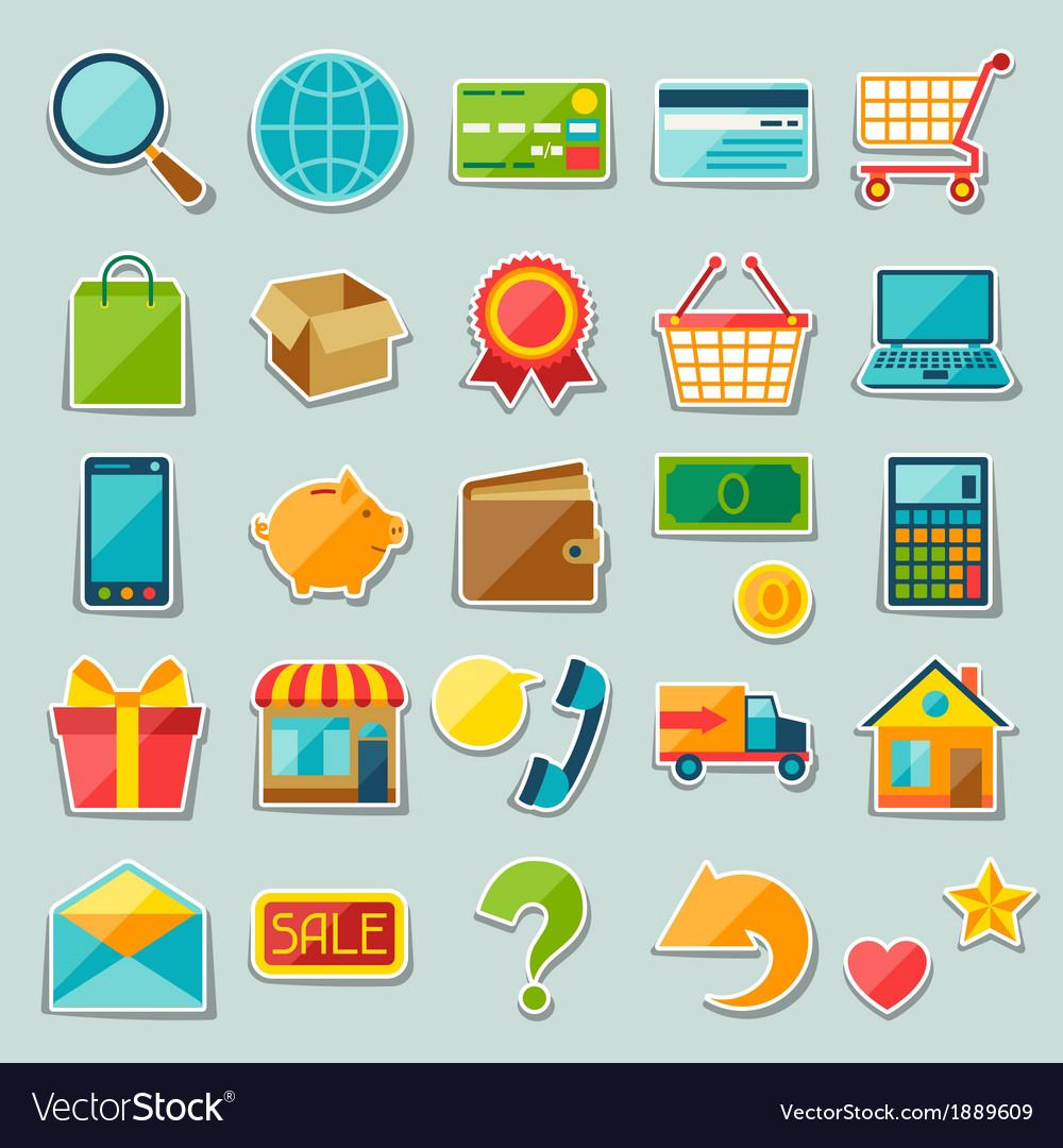 Internet shopping sticker icon set
