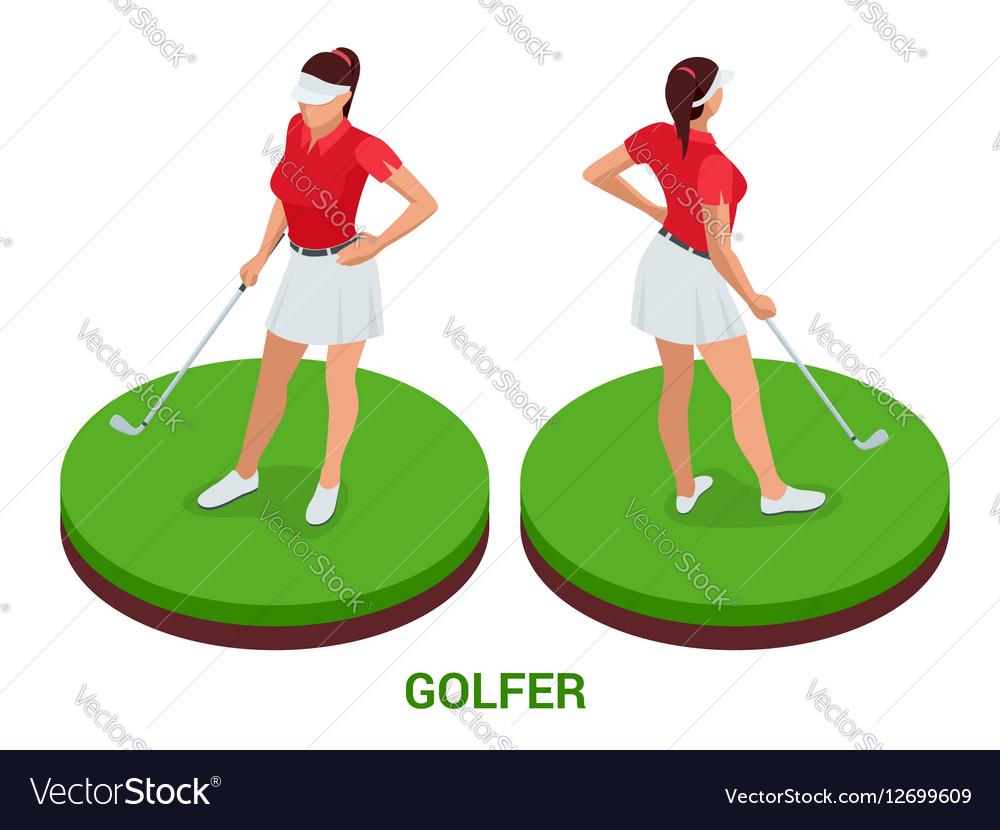 Isometric golfer Sport design elements