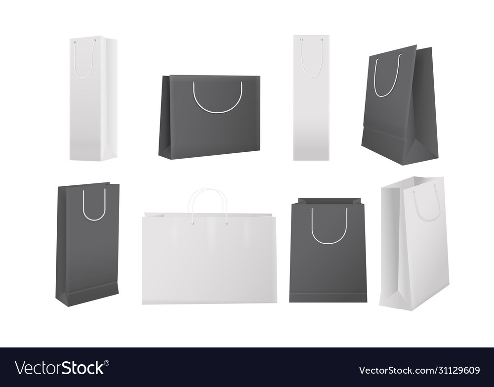 Paper shopping bags realistic white and black bag