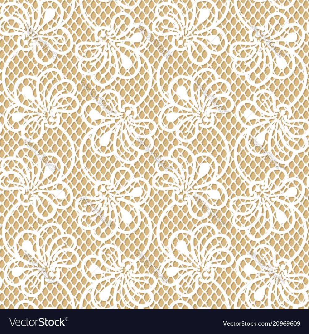 Seamless flower lace pattern on beige background