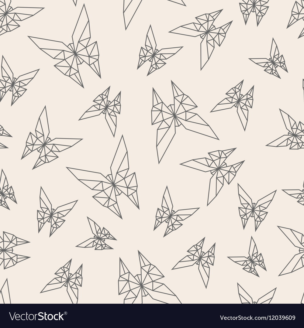Seamless Pattern Paper Origami Butterfly Vector Image