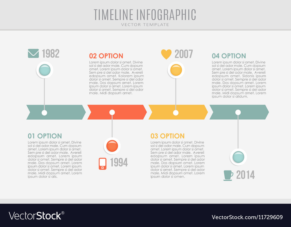 Timeline report template with buttons and icons