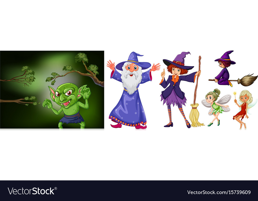 Witch and wizard on white background