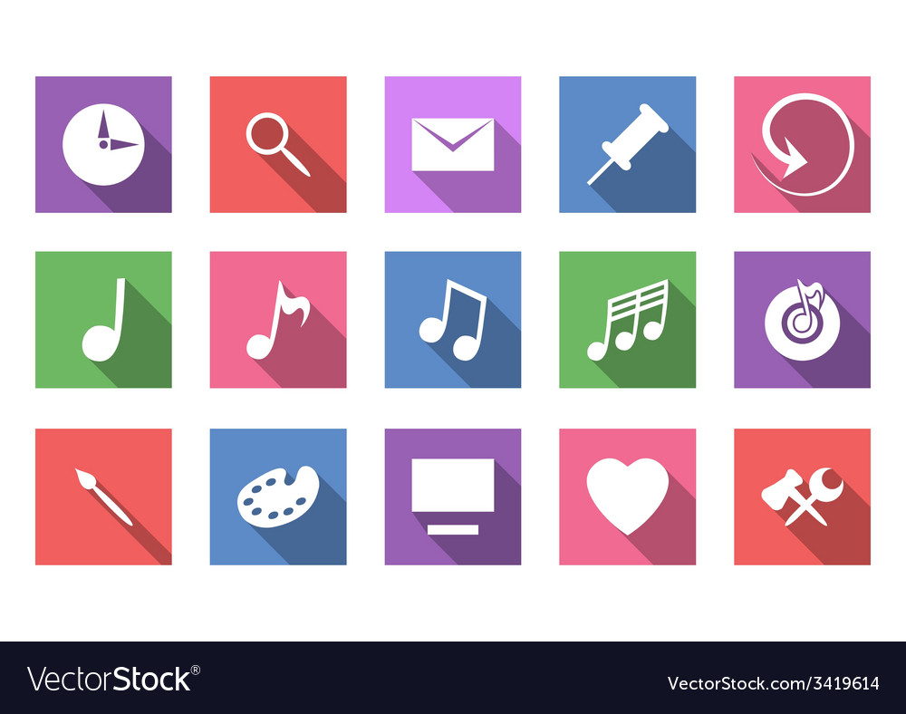 Art and musical flat icon set