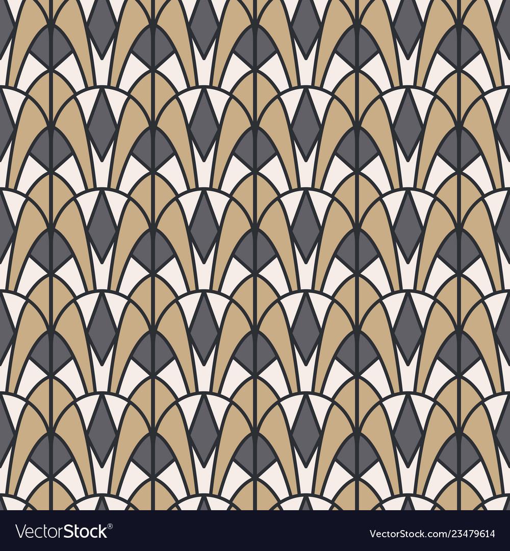 Art deco geometric seamless pattern gold and gray