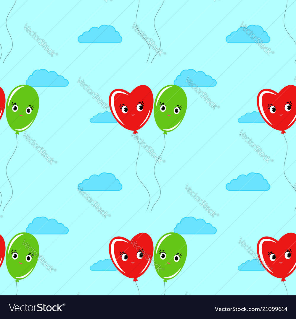 Colorful seamless pattern of cute smiling