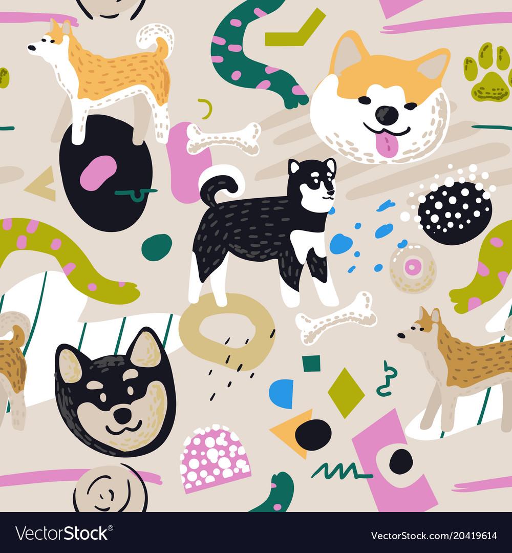 Cute dogs seamless pattern childish background