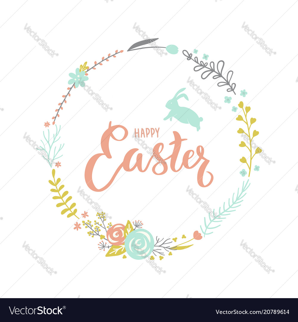 Easter floral wreath with a rabbit