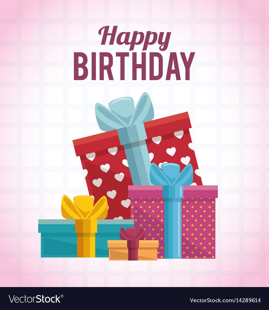 Gift Box Present Birthday Card Royalty Free Vector Image