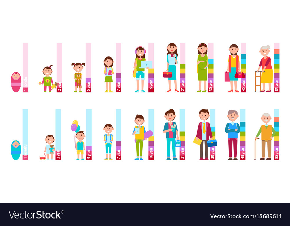 Humans cycle of life from baby to elderly person vector image