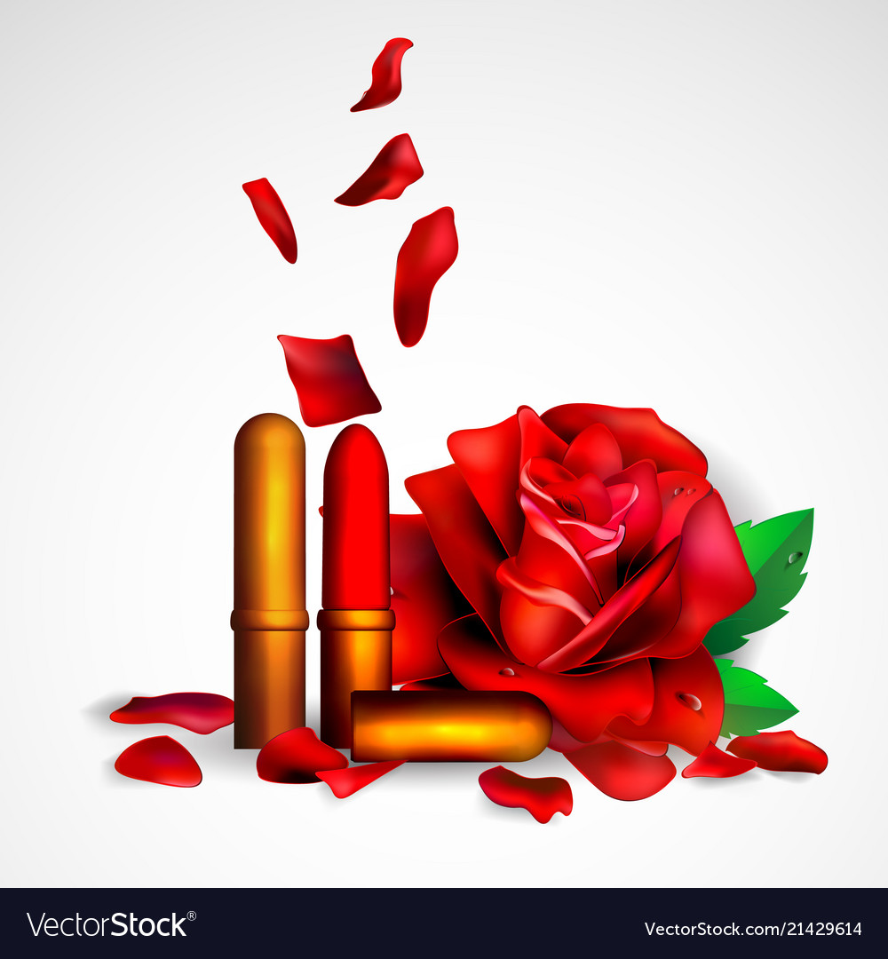 Lipstick and flowers background for banner