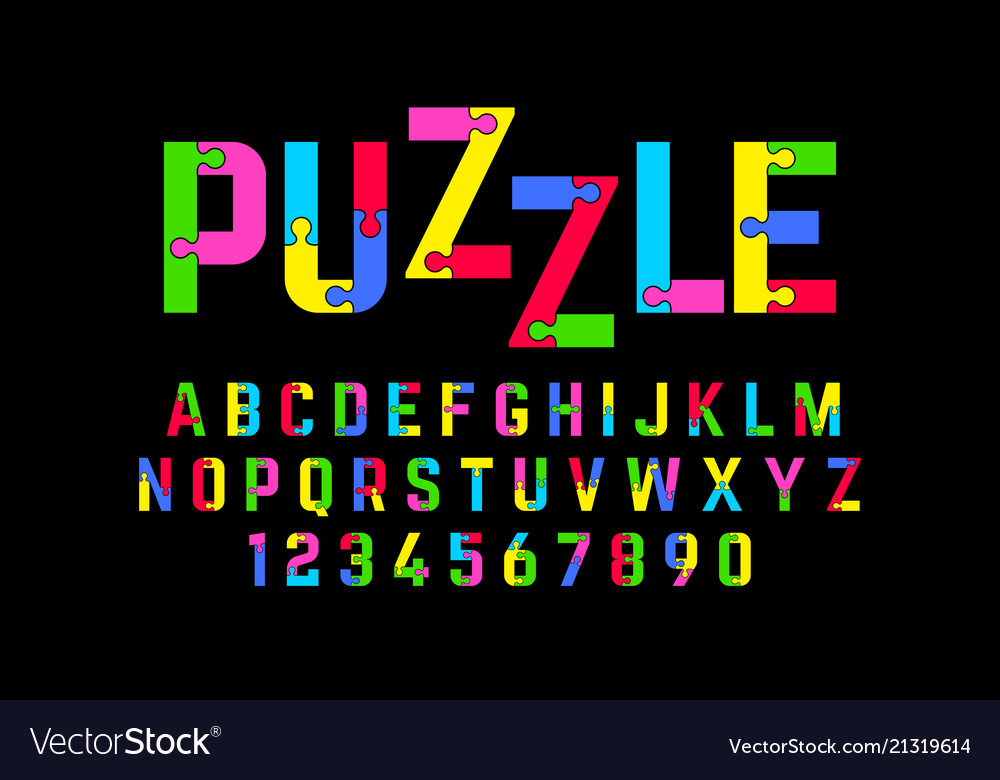 Puzzle font jigsaw puzzle alphabet and numbers