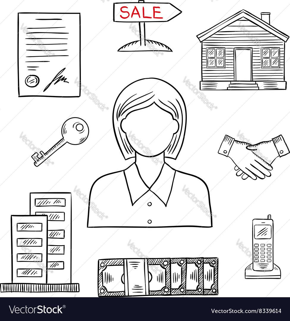 Realtor profession sketch for real estate design