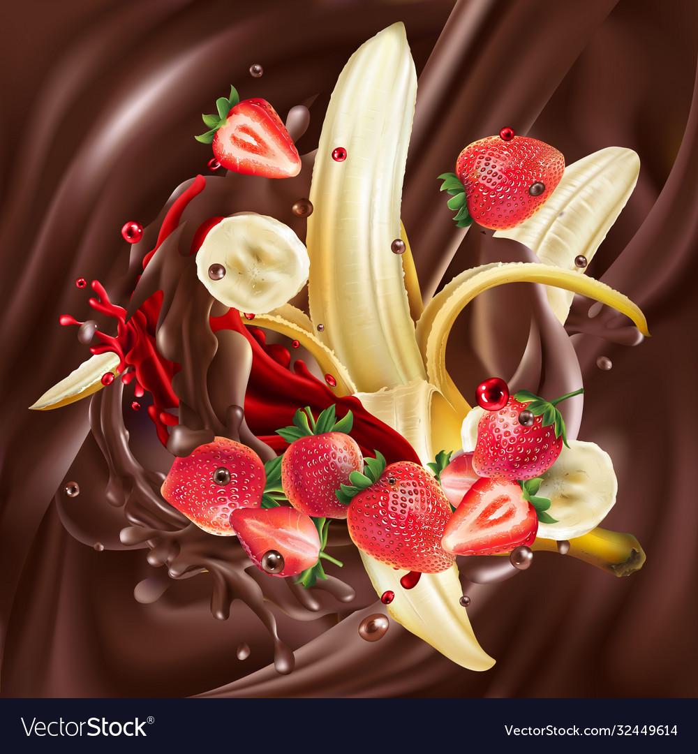 Ripe bananas and strawberries in liquid chocolate