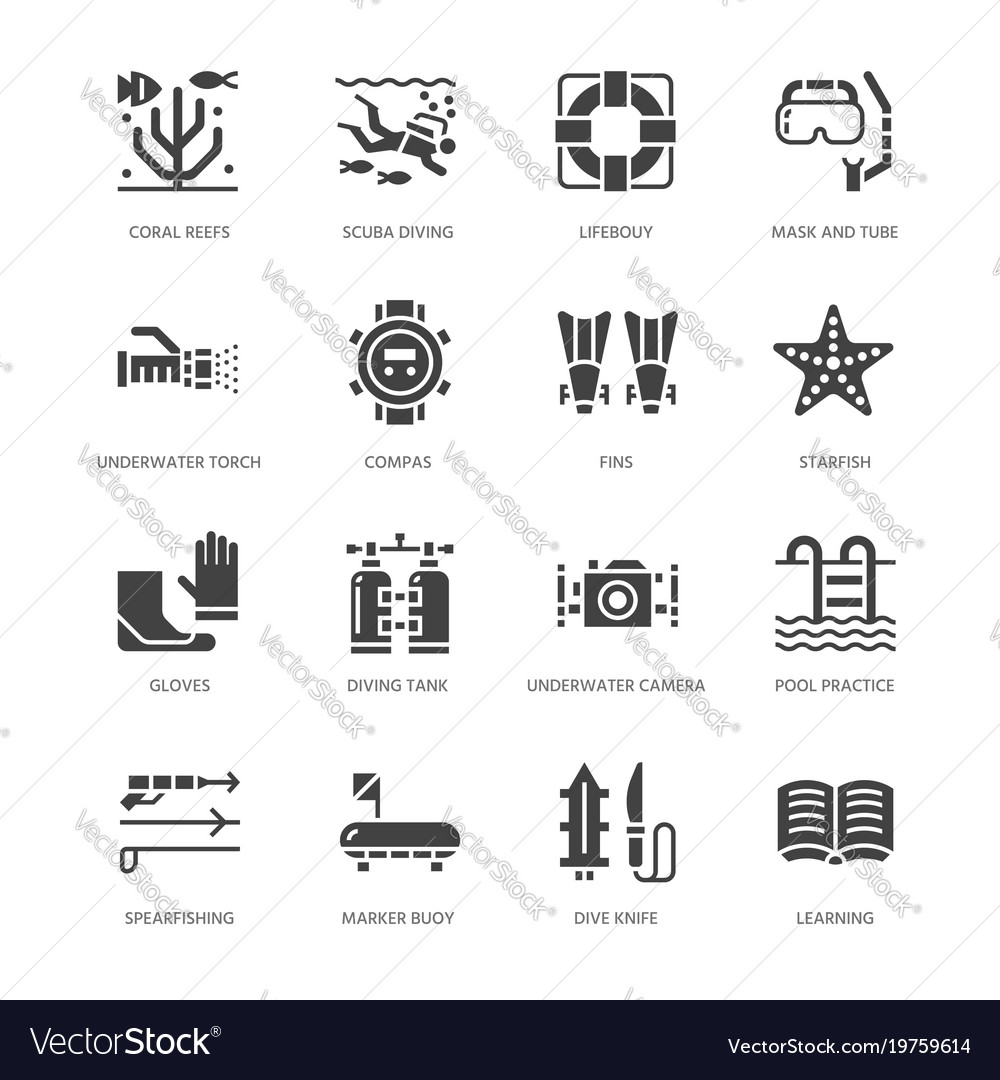 Scuba diving snorkeling flat glyph icons