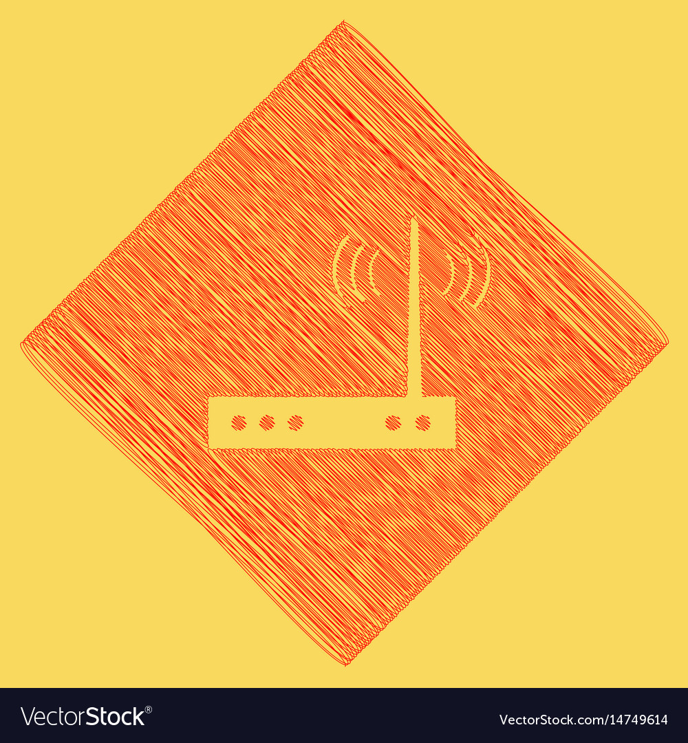 wifi modem sign red scribble icon vector image
