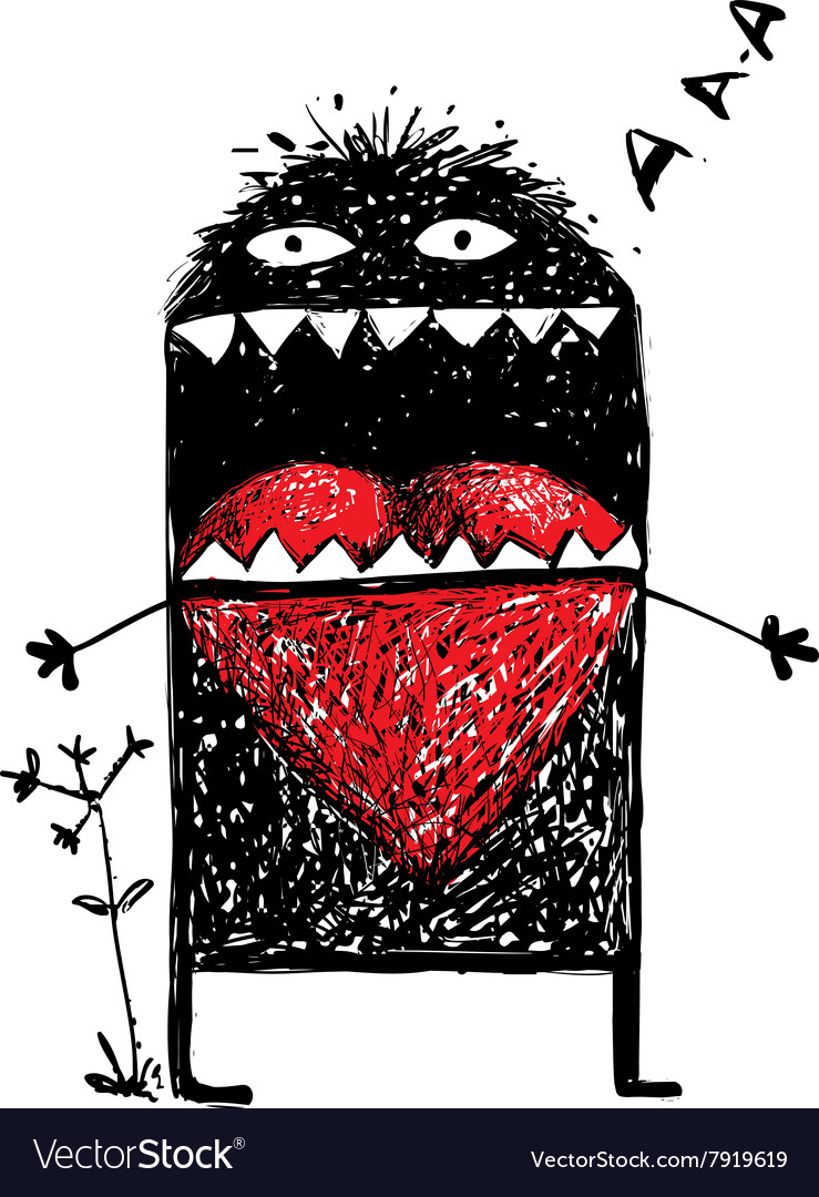 Character Monster in Love with Red Heart